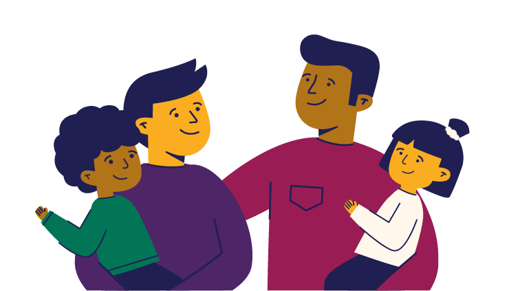 A happy family showing a non-binary parent, a male parent and two young children